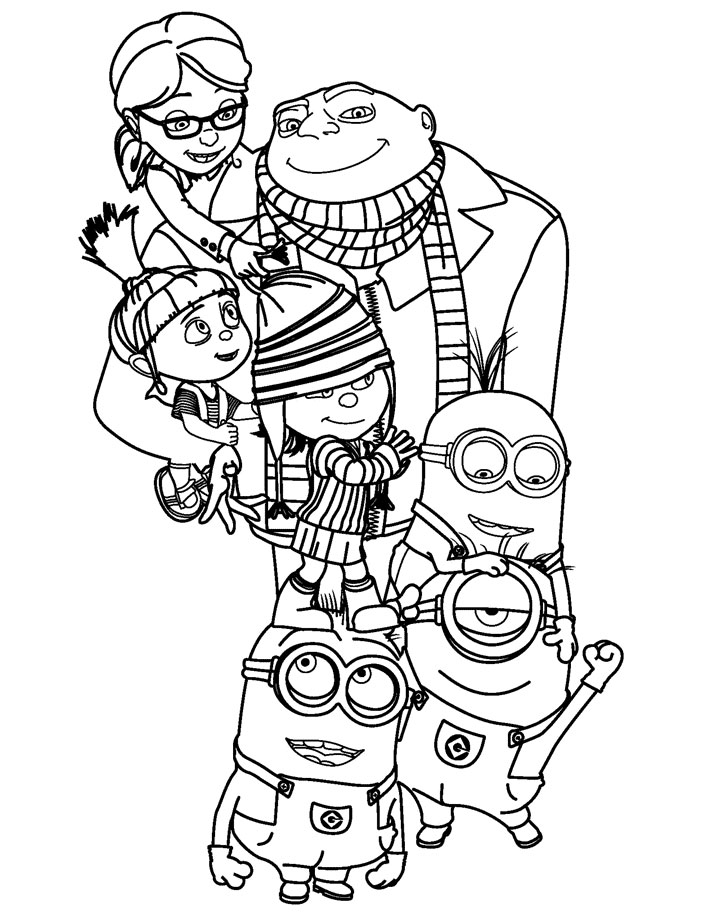 Simple despicable me coloring page for children