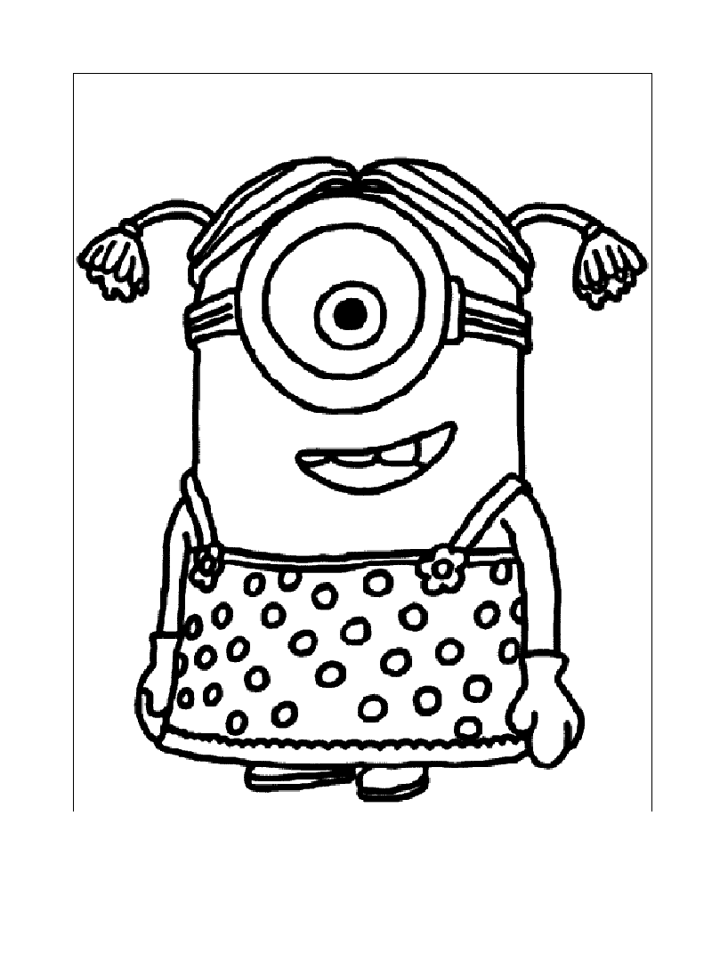 simple despicable me coloring page to print and color for free
