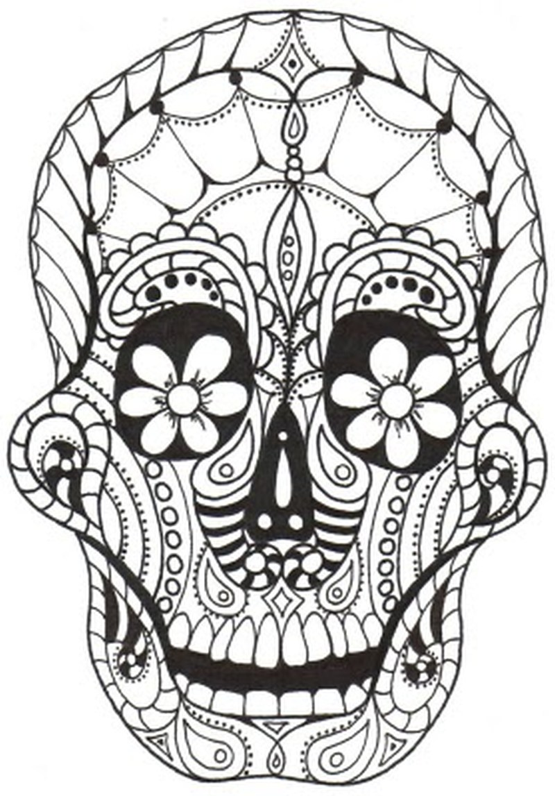 Simple Dia De Los Muertos (Day Of The Dead) coloring page to print and color for free
