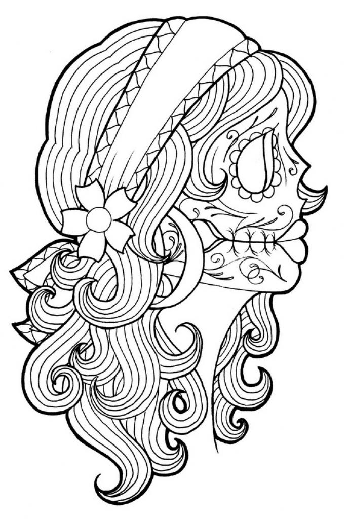 Simple Dia De Los Muertos (Day Of The Dead) coloring page for kids