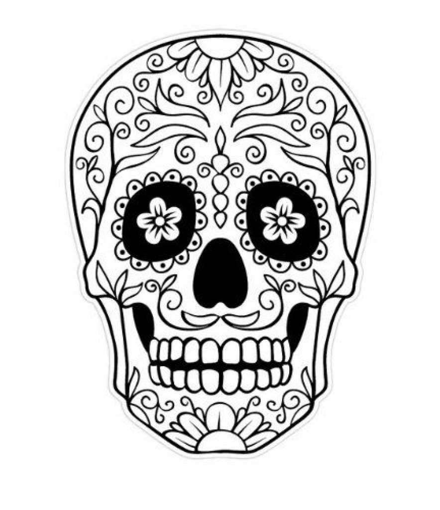 Free Dia De Los Muertos (Day Of The Dead) coloring page to print and color