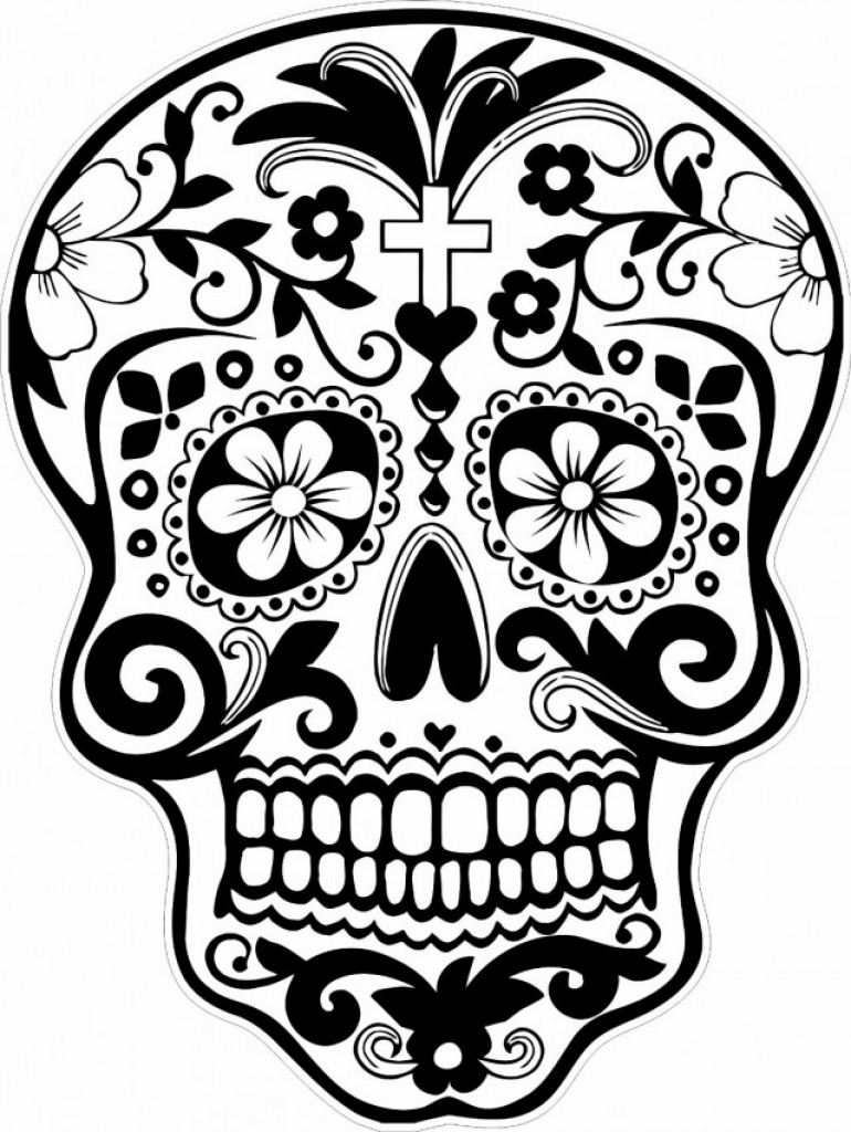 Incredible Dia De Los Muertos (Day Of The Dead) coloring page to print and color for free