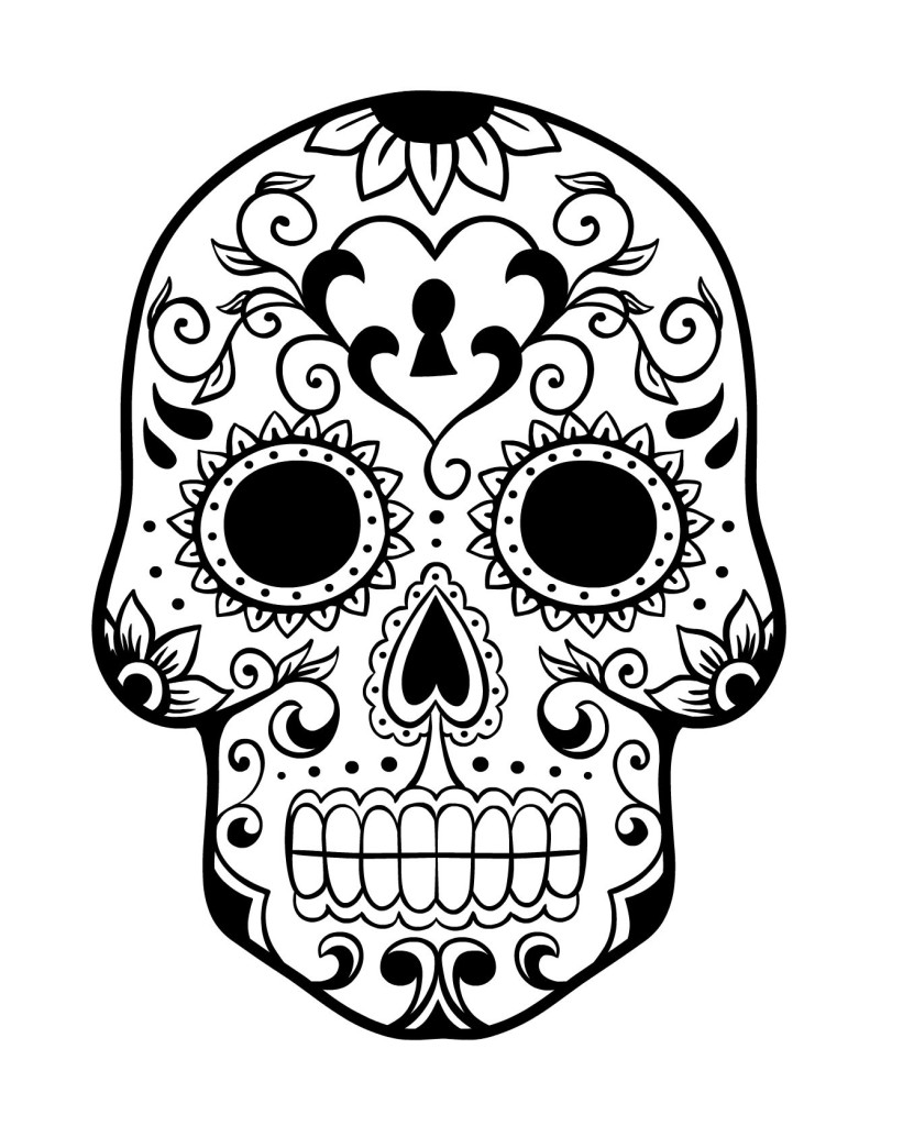 Simple Dia De Los Muertos (Day Of The Dead) coloring page to download for free