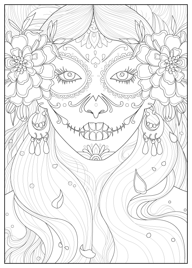 Beautiful Dia De Los Muertos (Day Of The Dead) coloring page to print and color