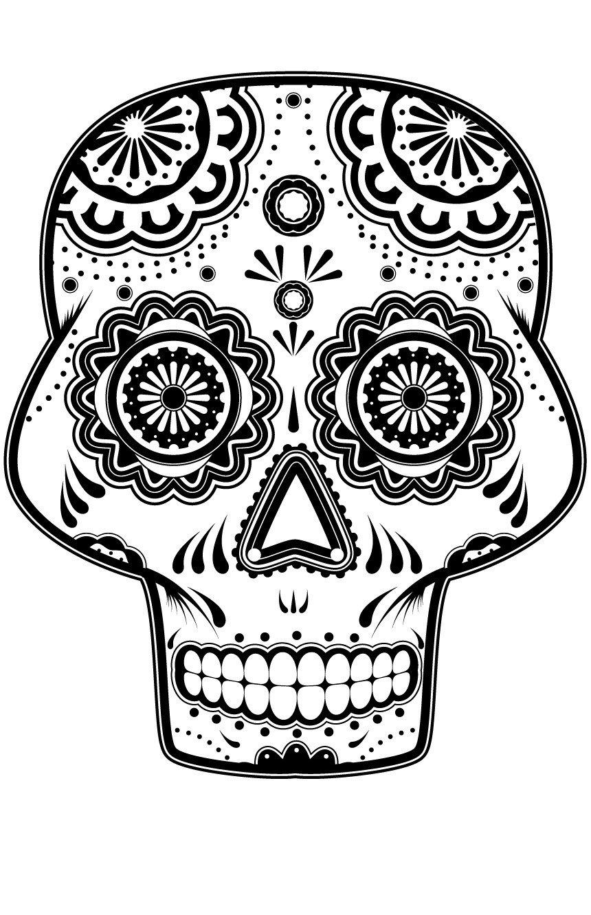Simple Dia De Los Muertos (Day Of The Dead) coloring page