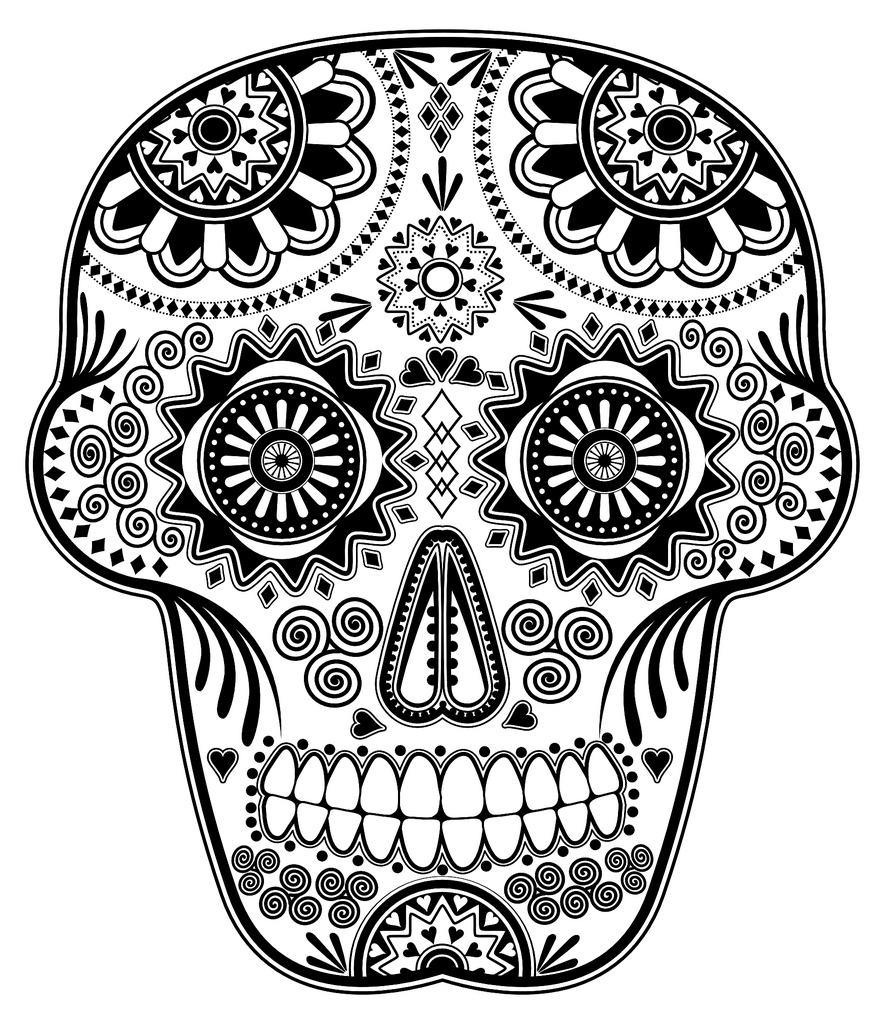 Dia De Los Muertos (Day Of The Dead) coloring page to print and color for free