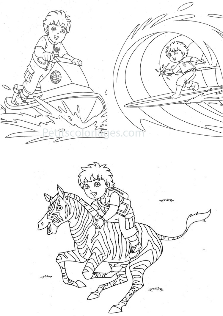 Cute free Diego coloring page to download