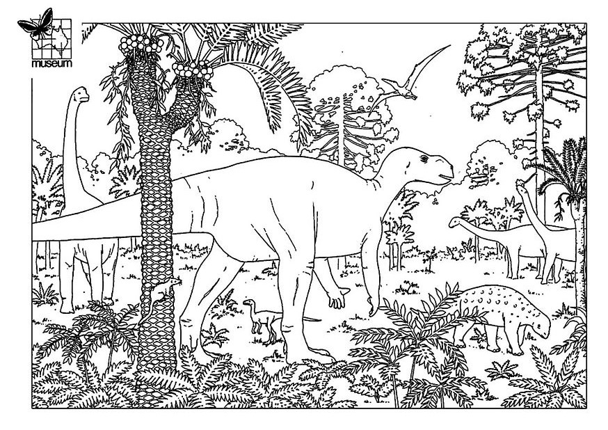Easy free Dinosaurs coloring page to download : Dinosaur family in the forest