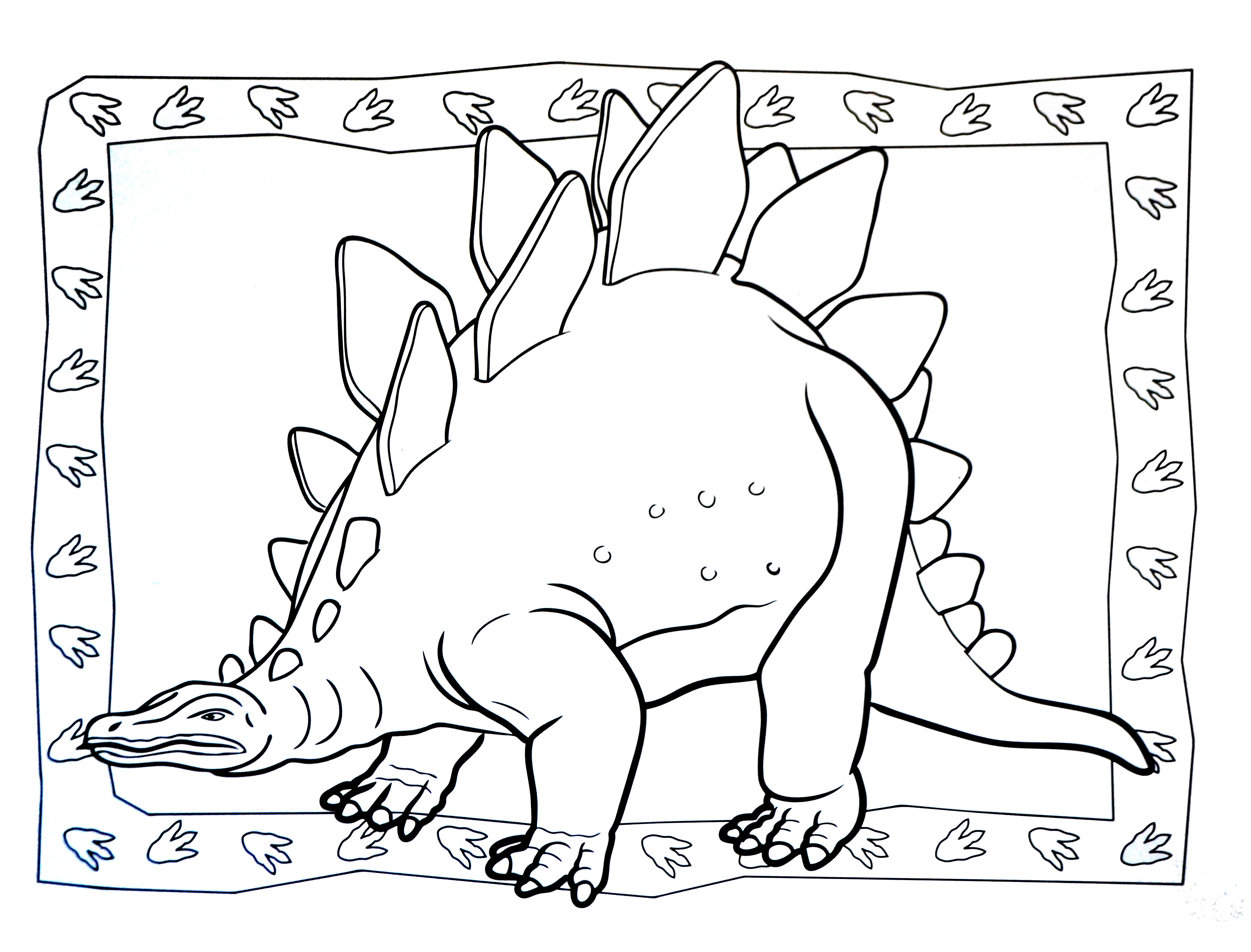 Simple Dinosaurs coloring page for kids : Stegosaurian