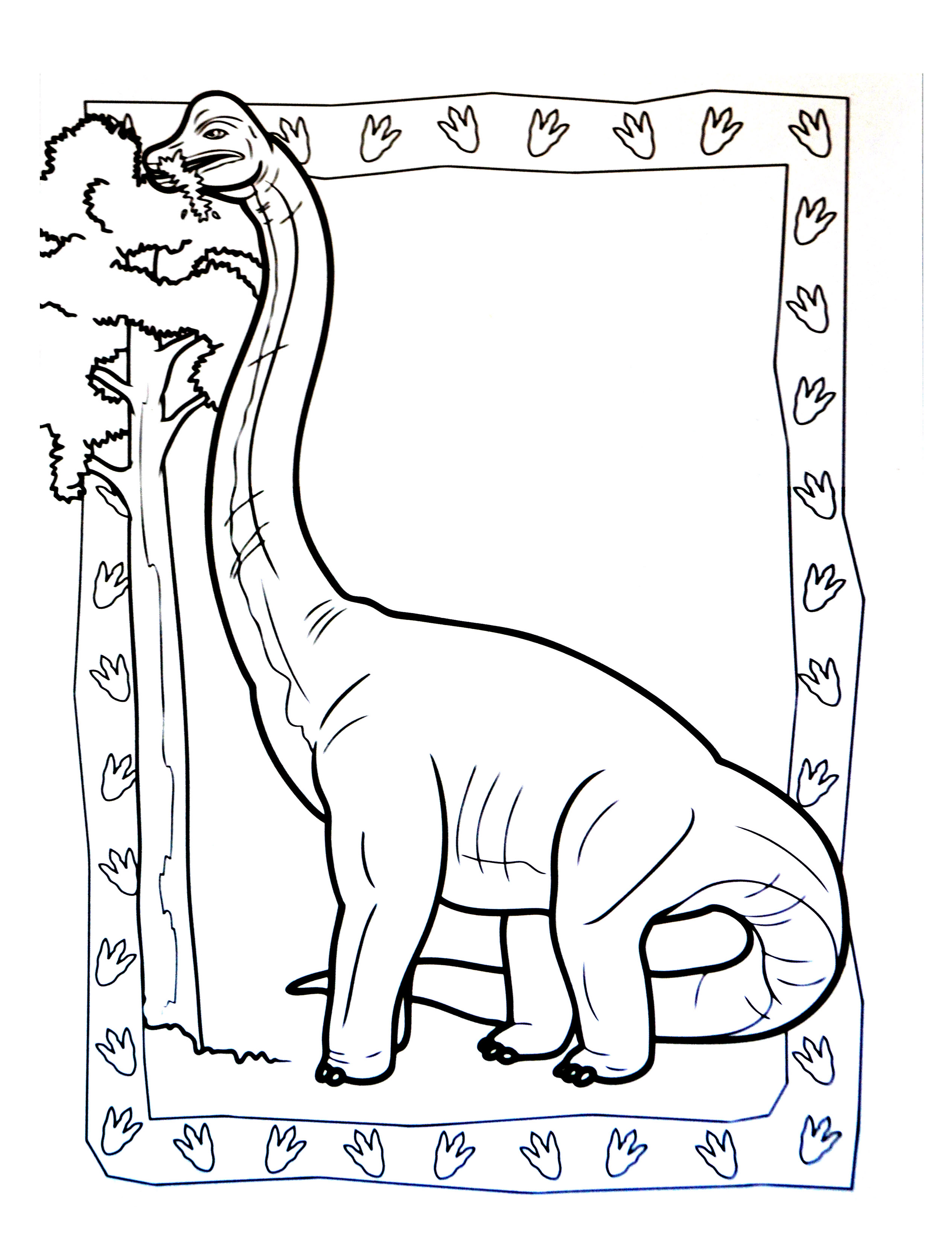 Free Dinosaurs coloring page to print and color : Brachiosaur eating