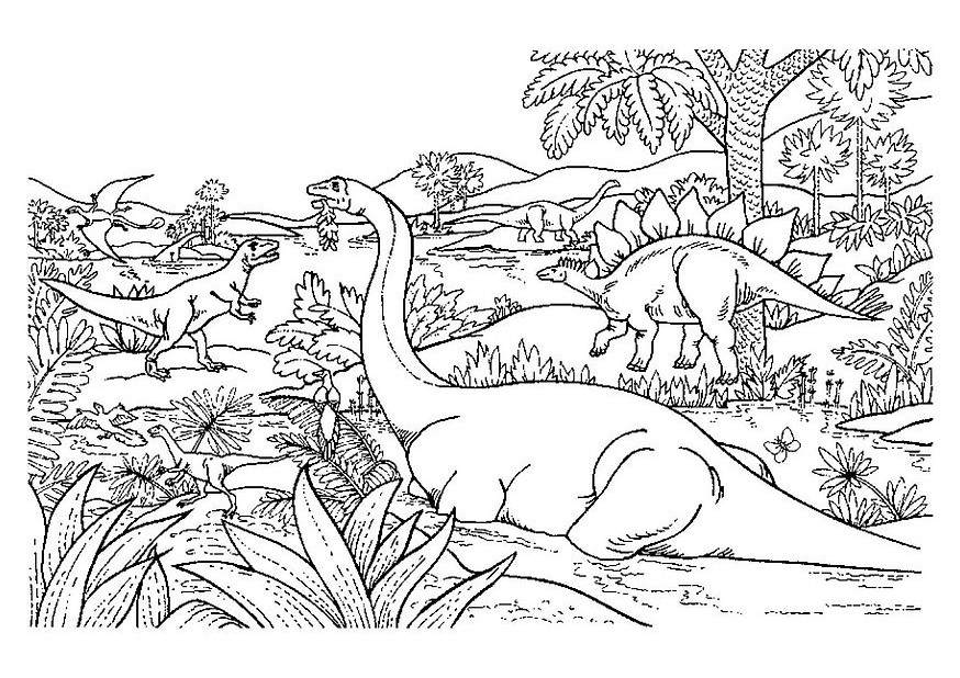 Printable Dinosaurs coloring page to print and color for free