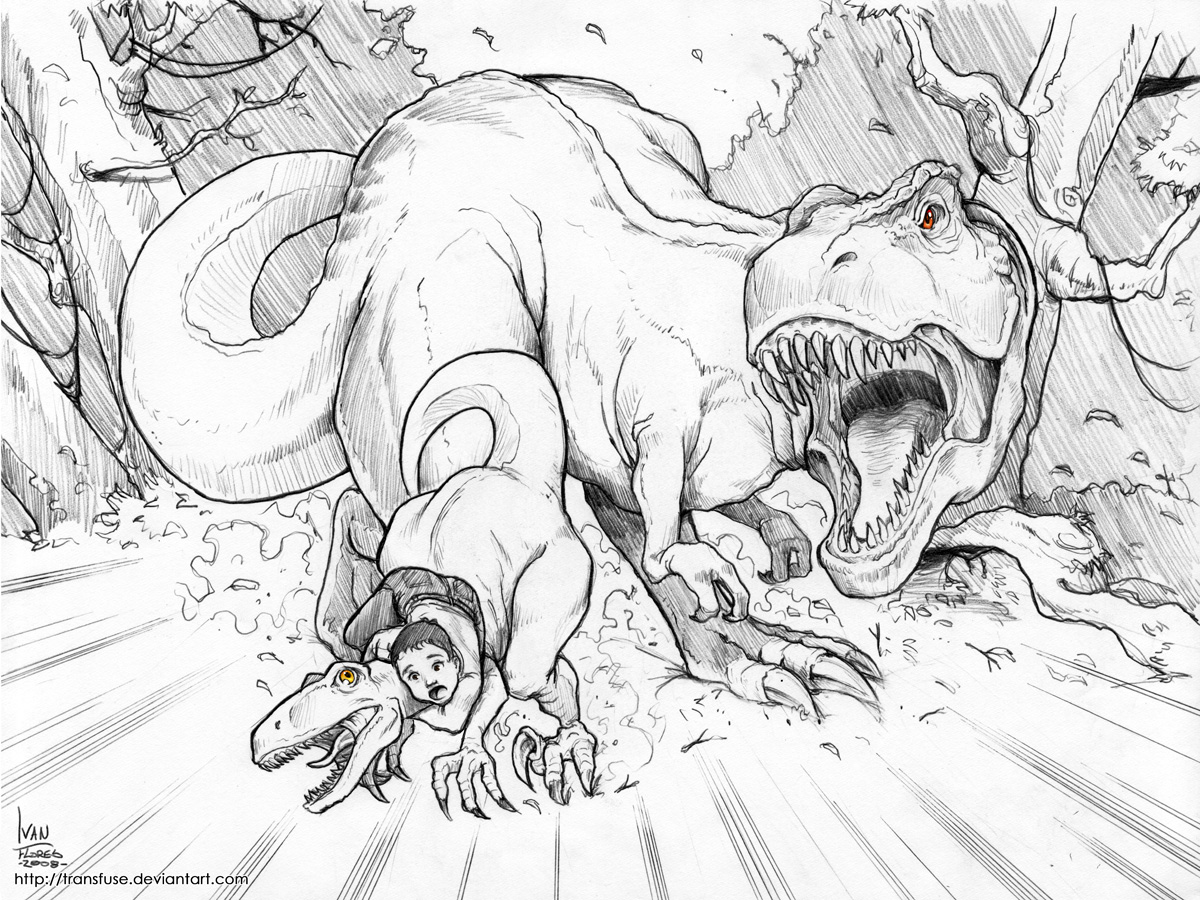 Dinosaurs coloring page to print and color : Scary Tyrannosaurus Rex