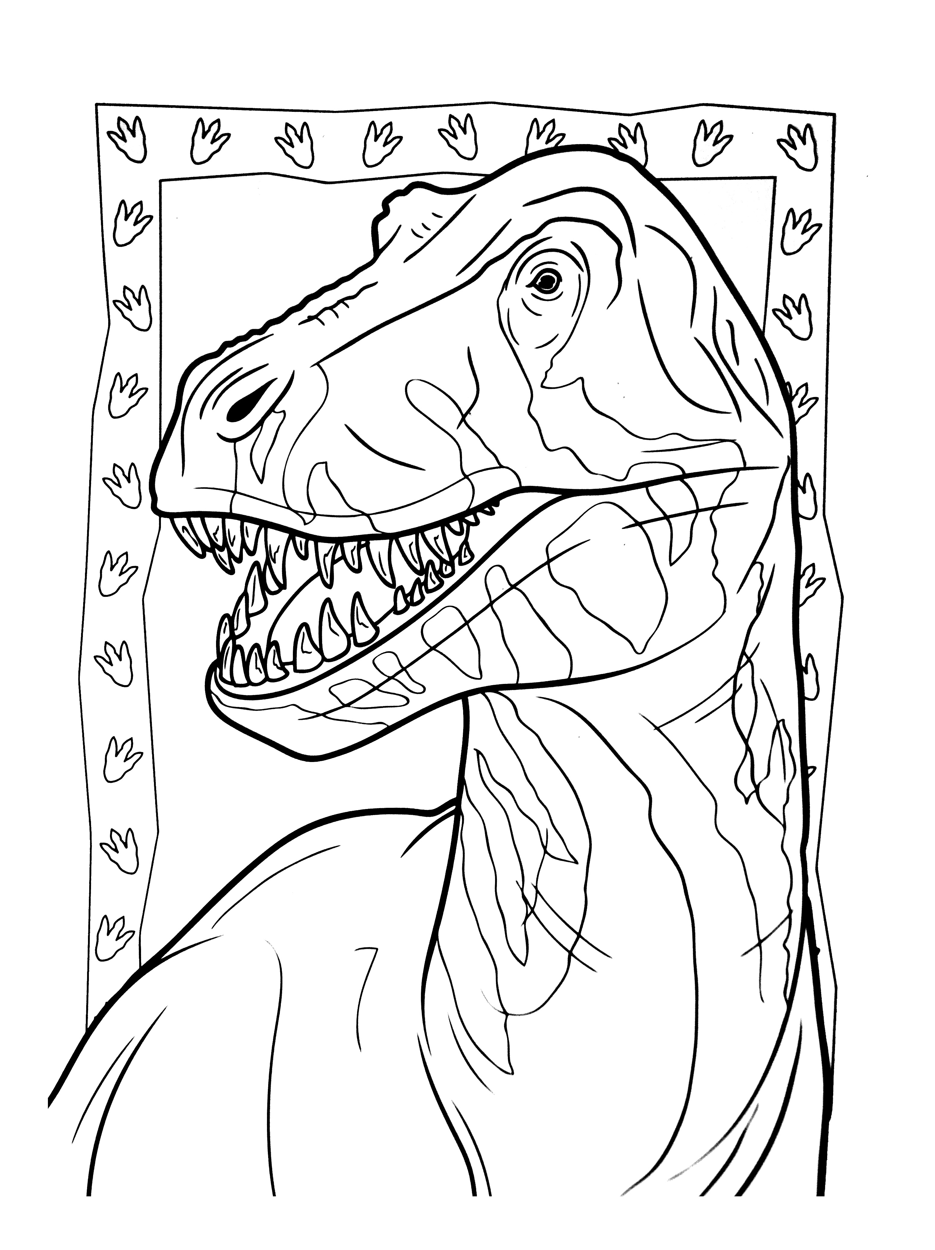 Beautiful Dinosaurs coloring page to print and color : T-Rex face