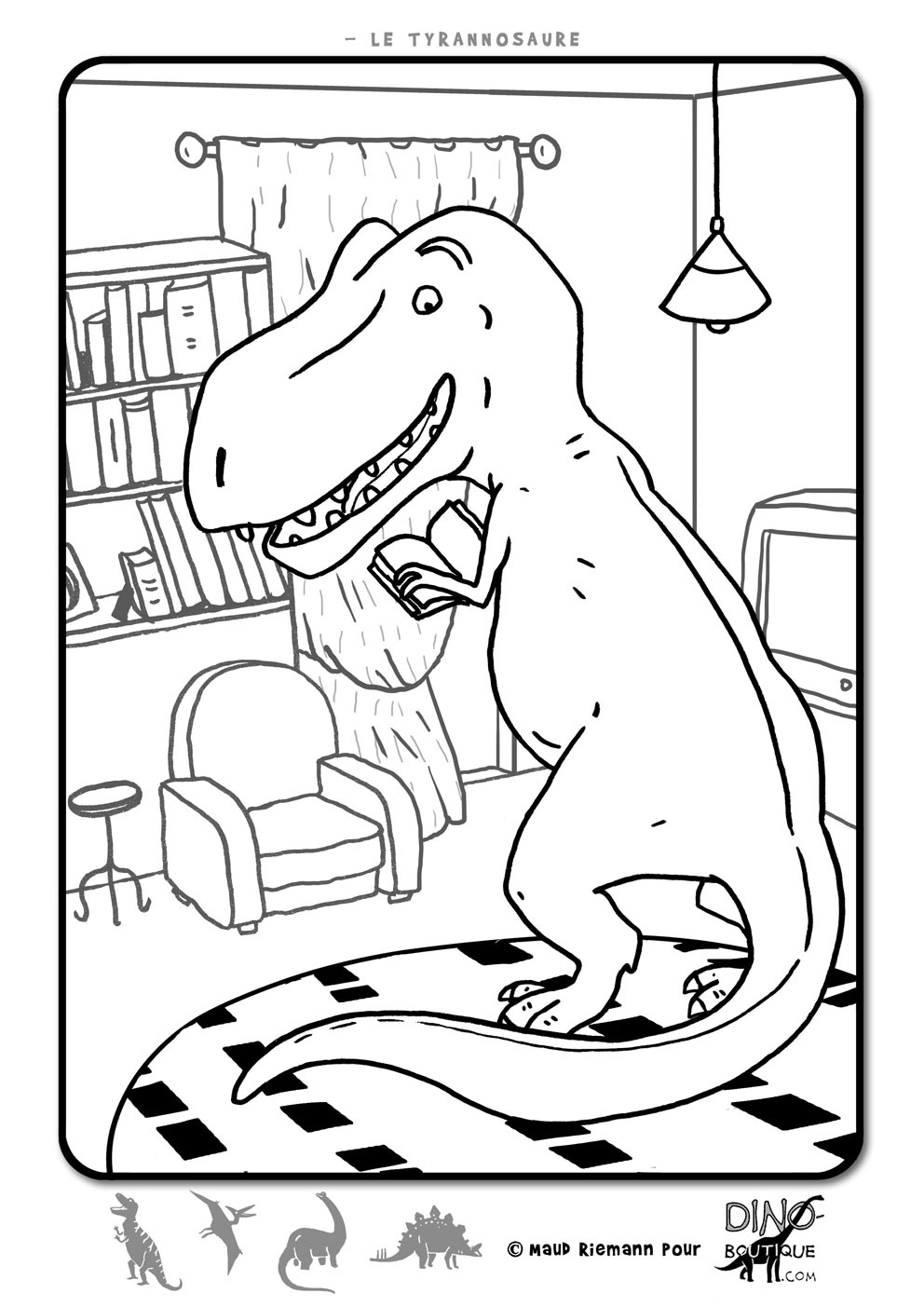 Dinosaurs coloring page with few details for kids : Funny T-Rex