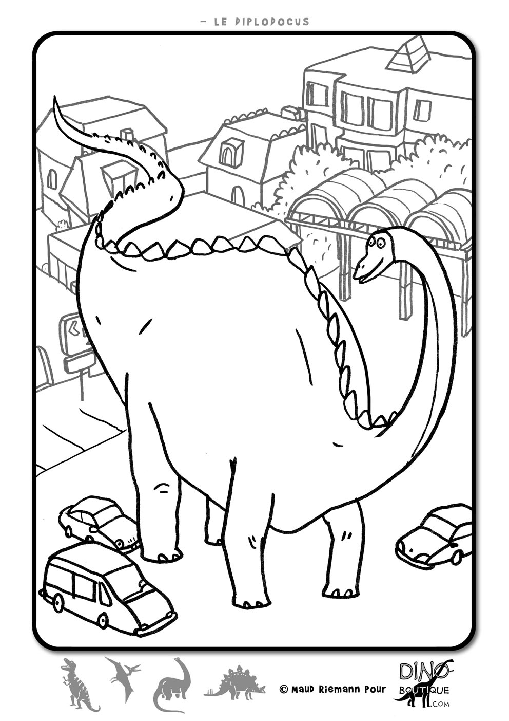 Printable Dinosaurs coloring page to print and color : giant Diplodocus