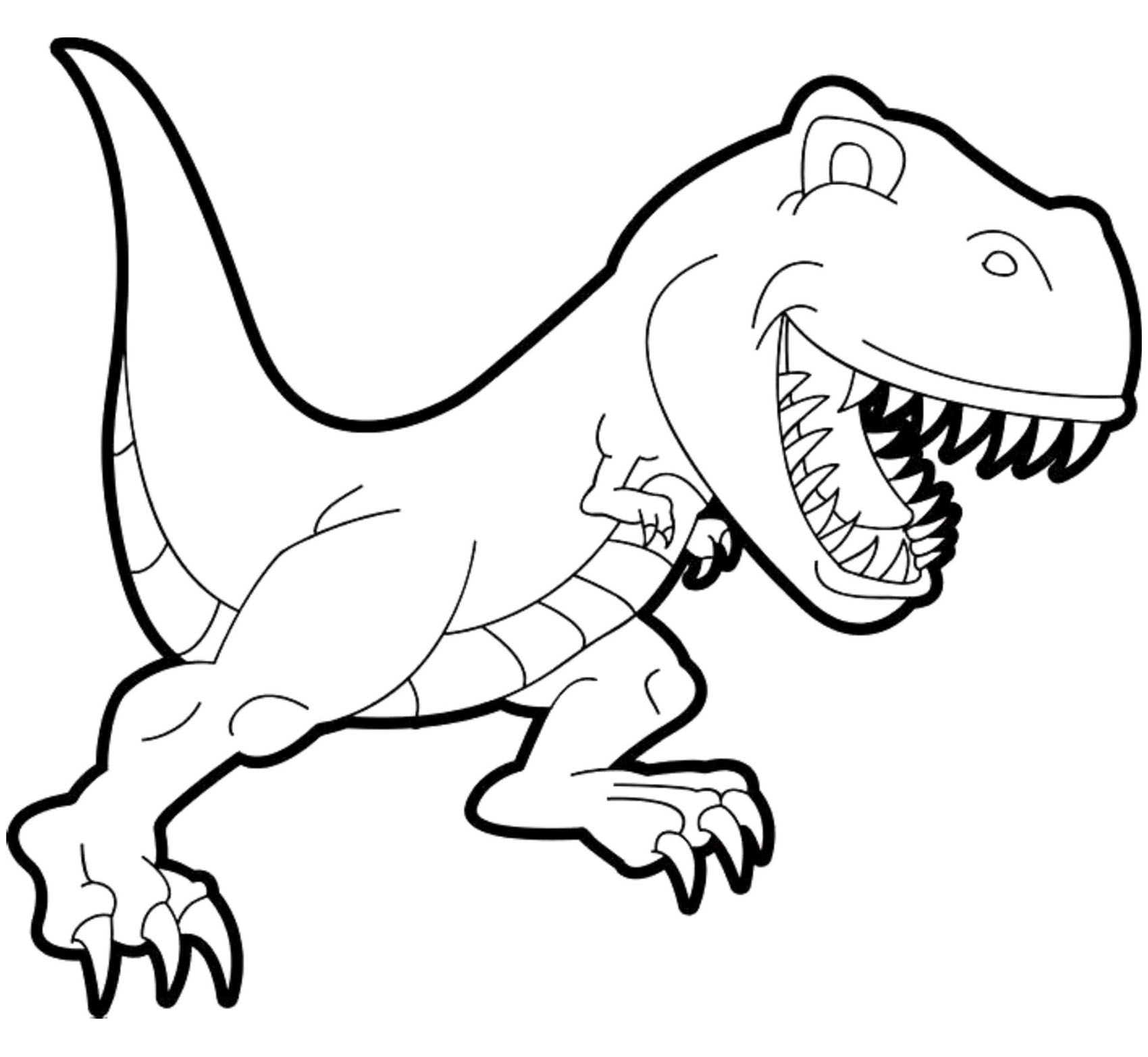 Free Dinosaurs coloring page to print and color, for kids : Tyrannosaur (Cartoon)