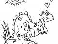 Coloring page cartoon dinosaurs for children