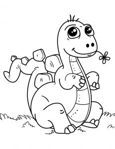 Coloring page dinosaurs to color for kids : Baby Dinosaur