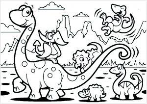 Coloring page dinosaurs for kids : Brachiosaur family