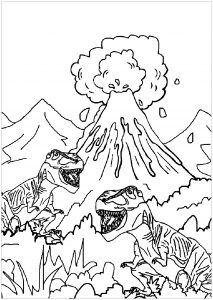 Coloring page dinosaurs to print for free : Dinosaurs and volcano