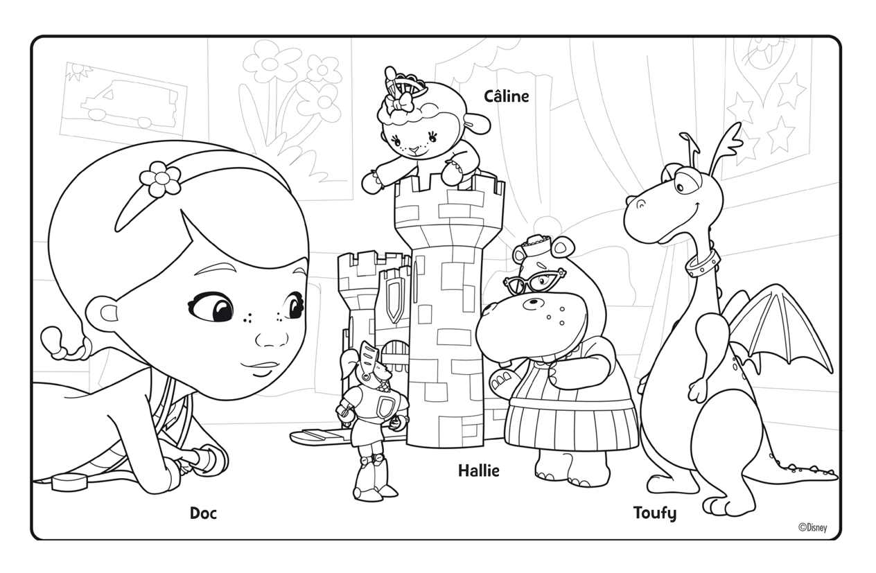 Free Doc McStuffins coloring page to print and color, for kids