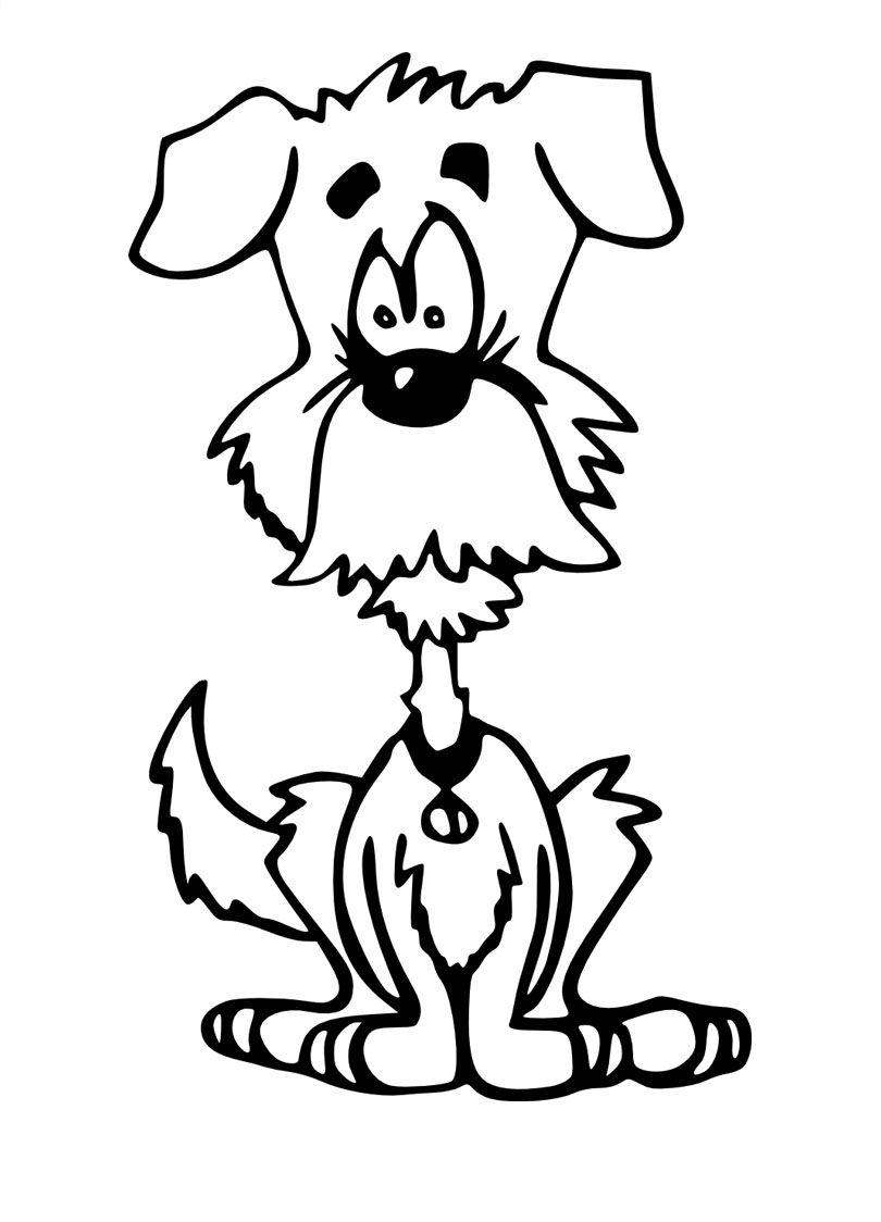Funny Dogs Coloring Page For Kids
