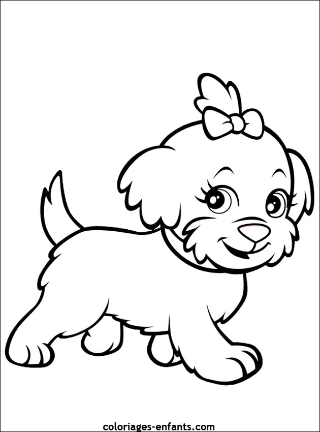 Simple Dog coloring page for children : cute little dog