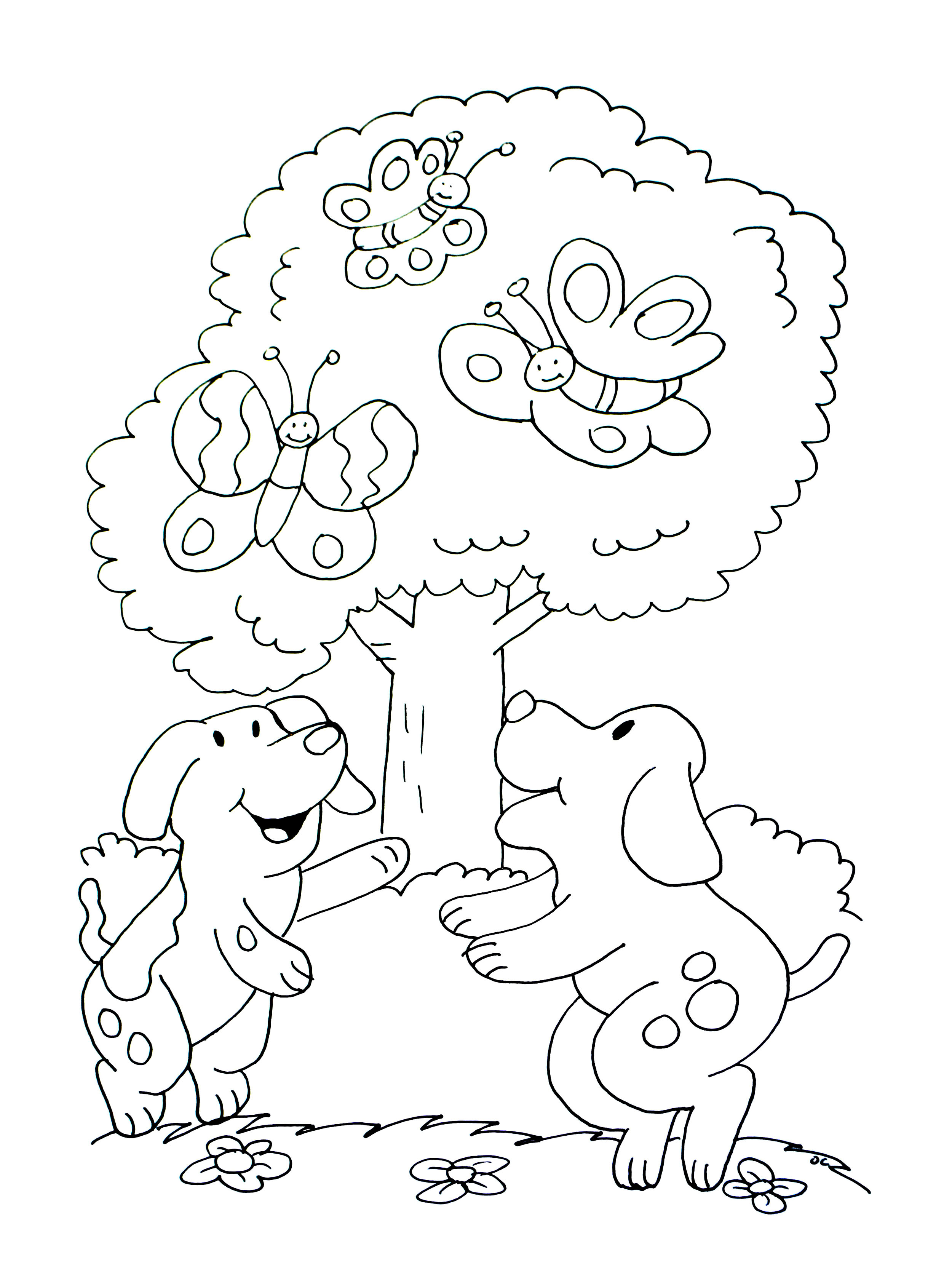 Free Dog coloring page to print and color : Two dogs playing in front of a tree, with three butterflies
