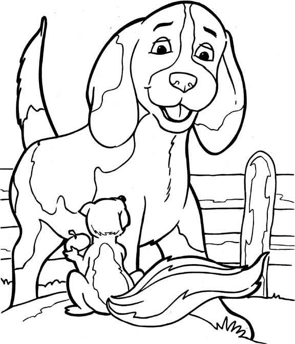 Simple free Dog coloring page to print and color : dog and little squirrel