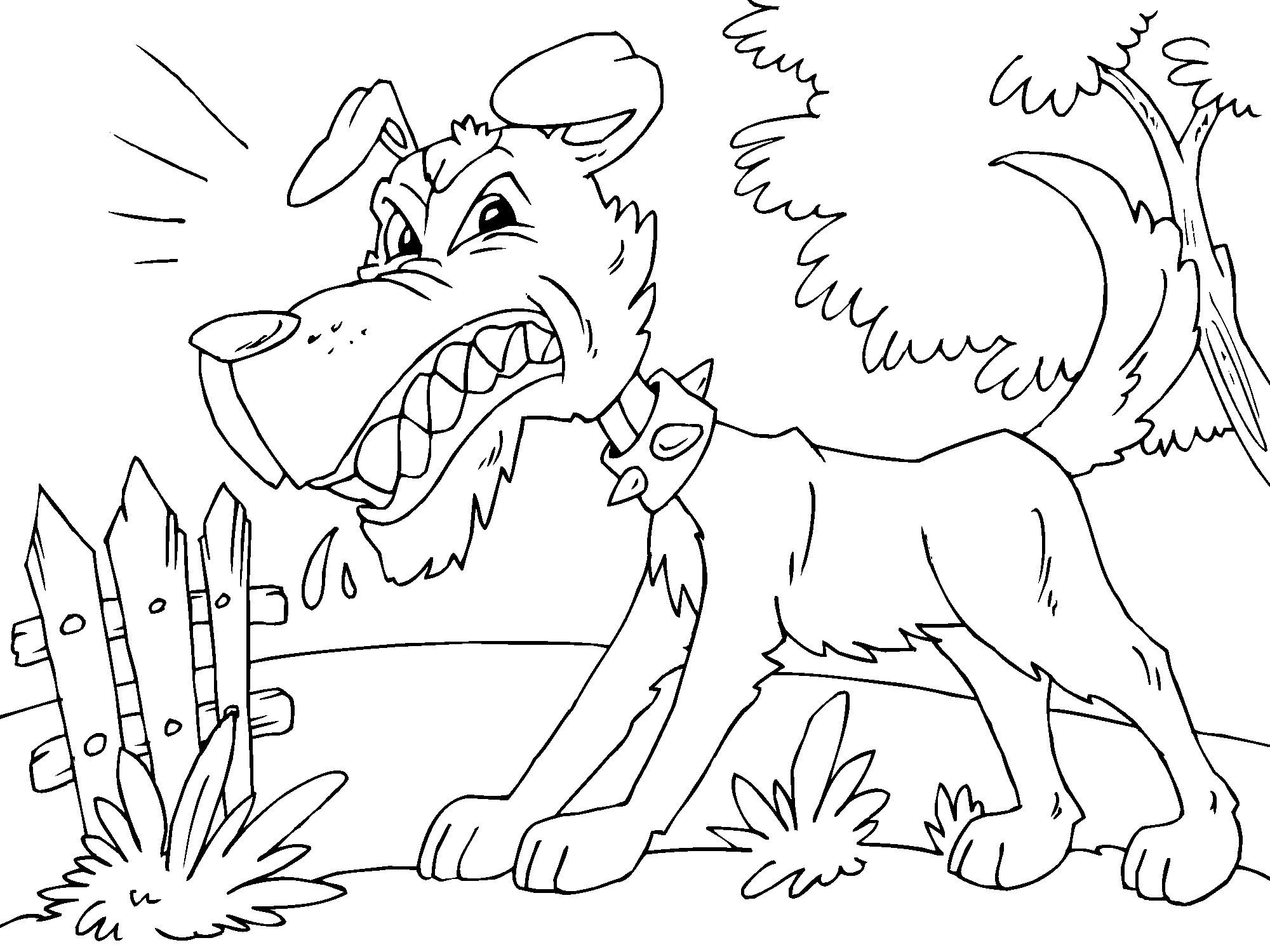 Simple Dog coloring page : Angry dog !