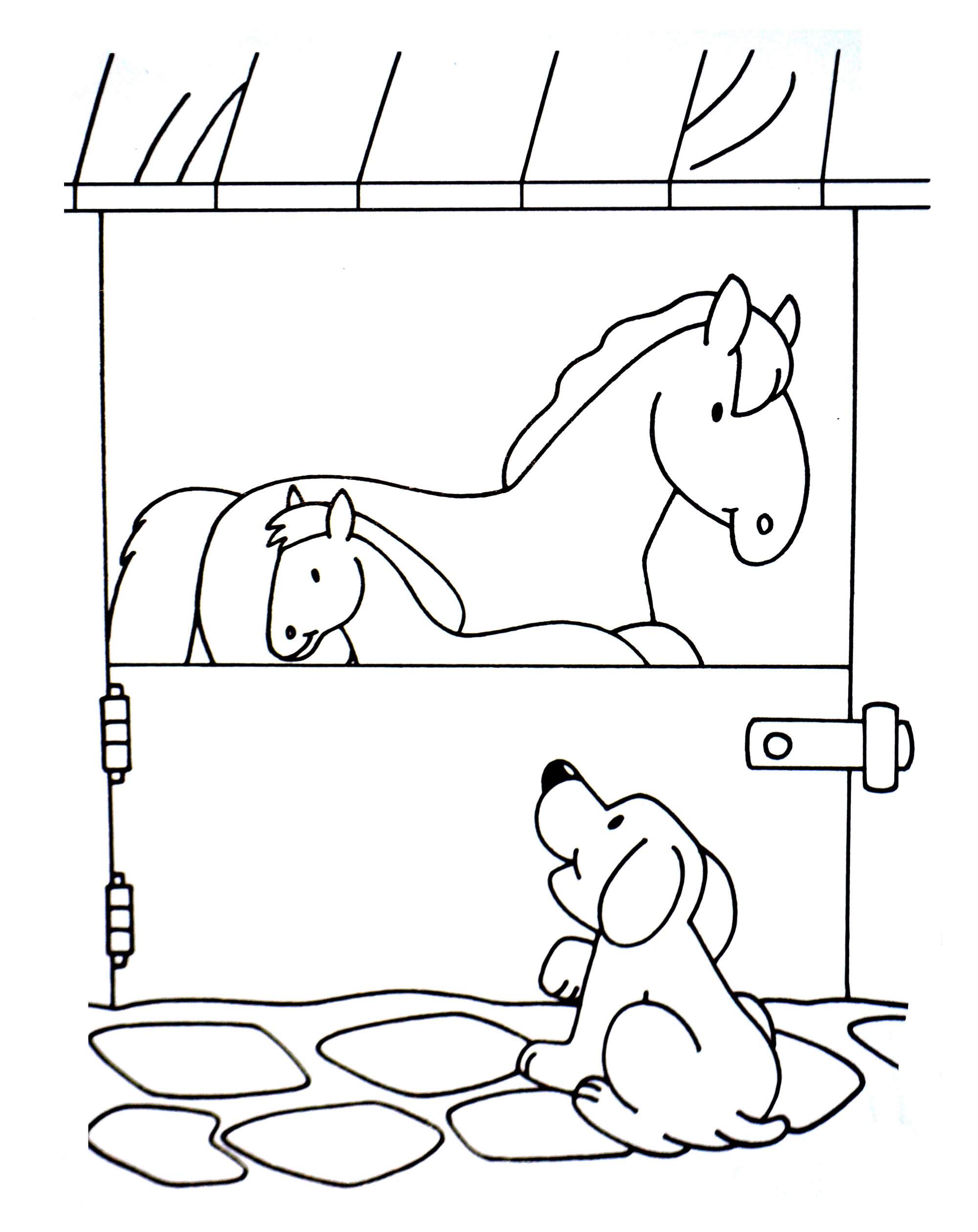 Dog coloring page to download for free : dog and horses