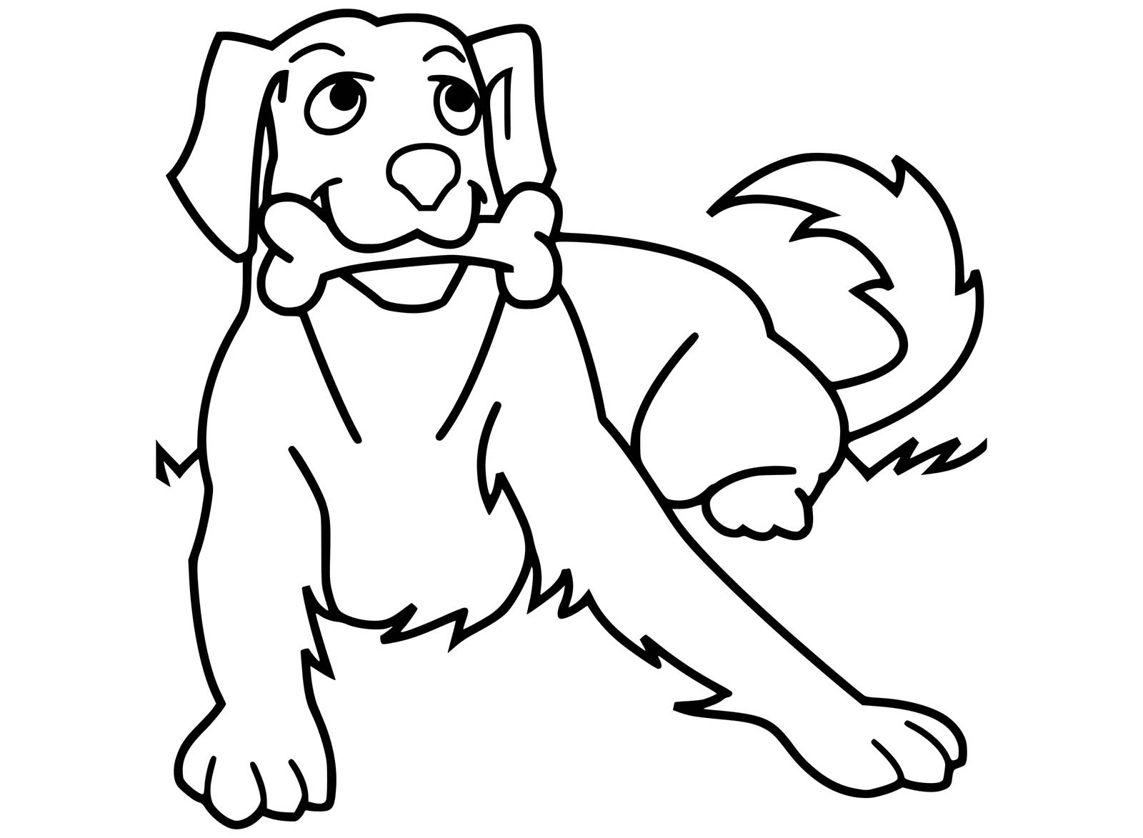 Cute free Dog coloring page to download: Dog & bone