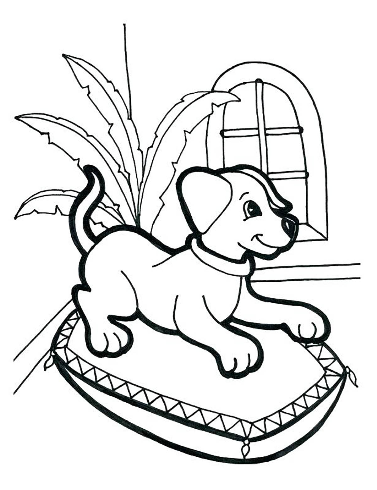 Dog to print : obedient dog - Dogs Kids Coloring Pages