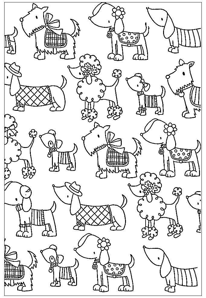 Cartoon Coloring Page With Funny Dog Dogs Kids Coloring Pages