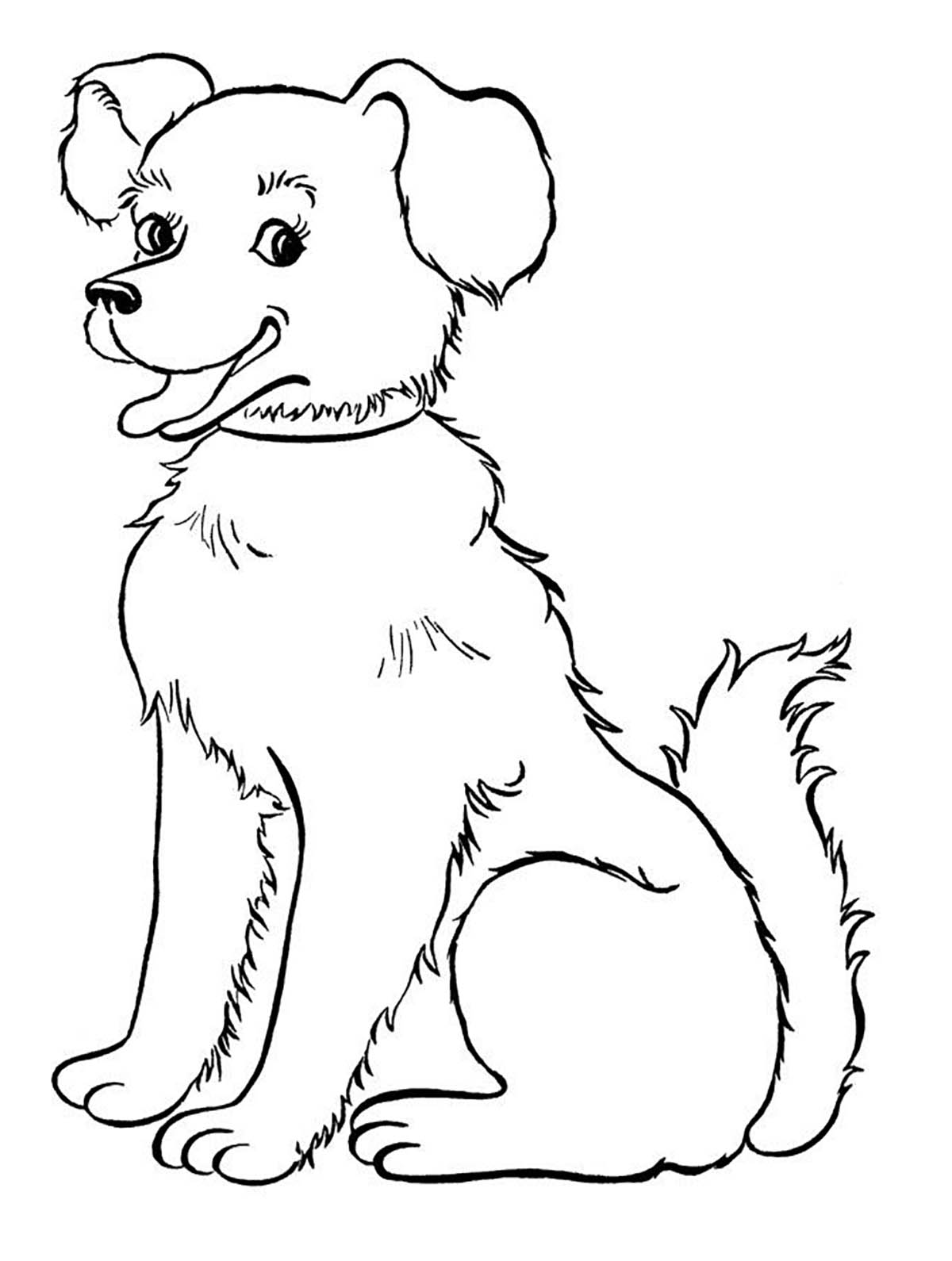 Dog for children : smiling dog - Dogs Kids Coloring Pages