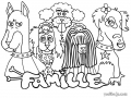 Coloring page dog to color for children : Five dogs