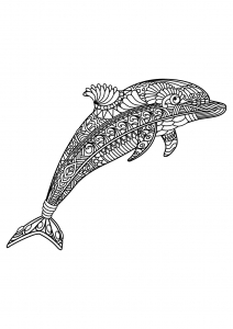Coloring page dolphins to color for children