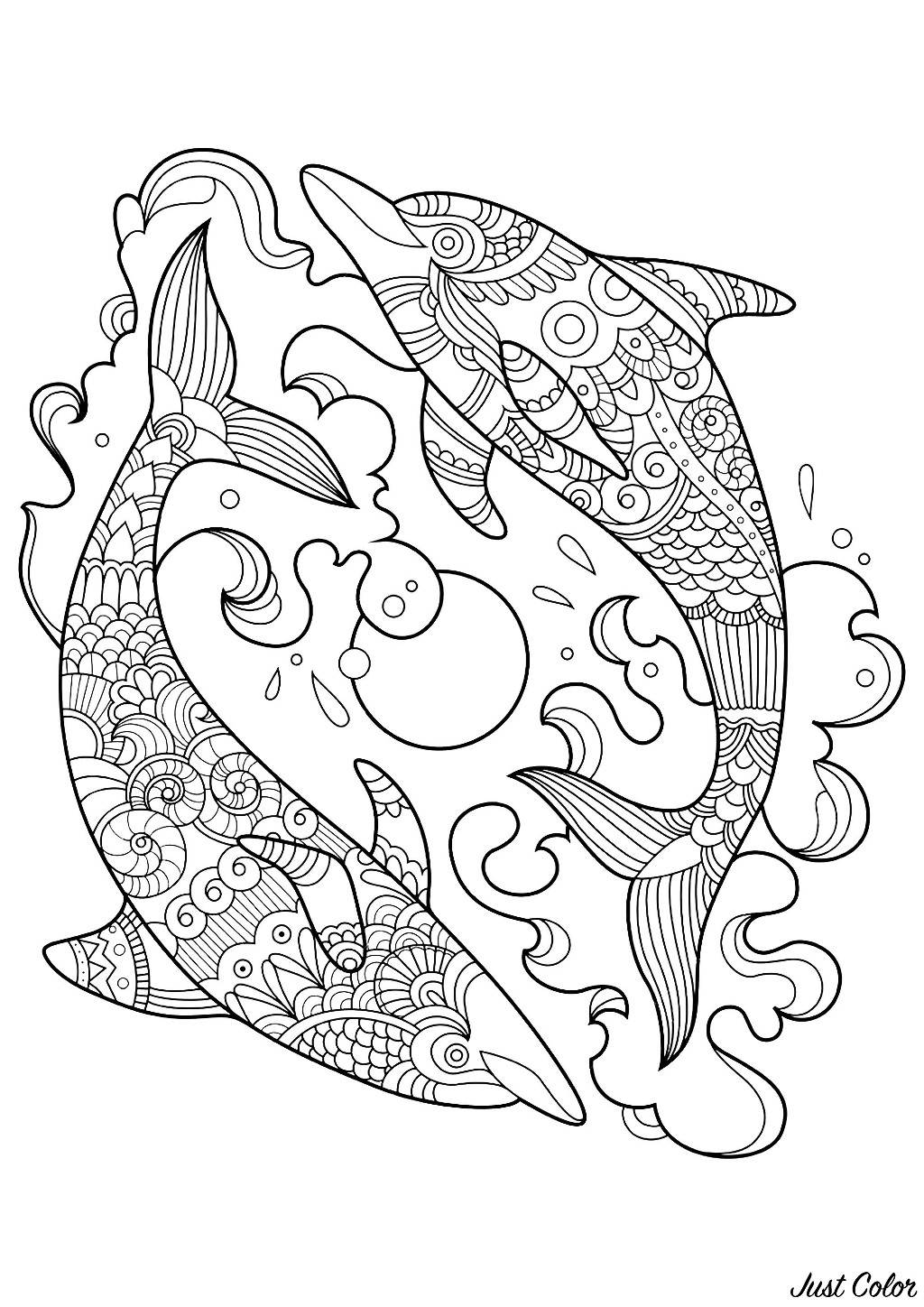 Dolphins to color for children - Dolphins Kids Coloring Pages