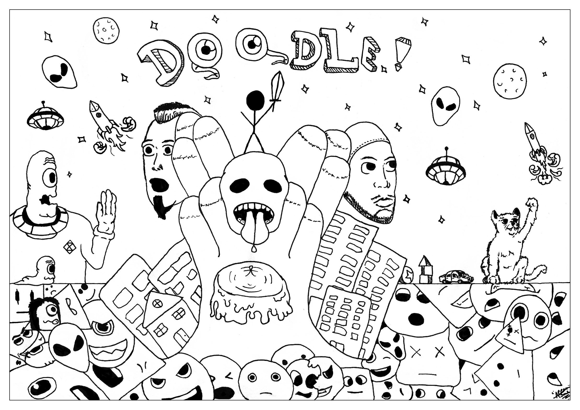 Doodle art free to color for kids Doodle Art Coloring pages for