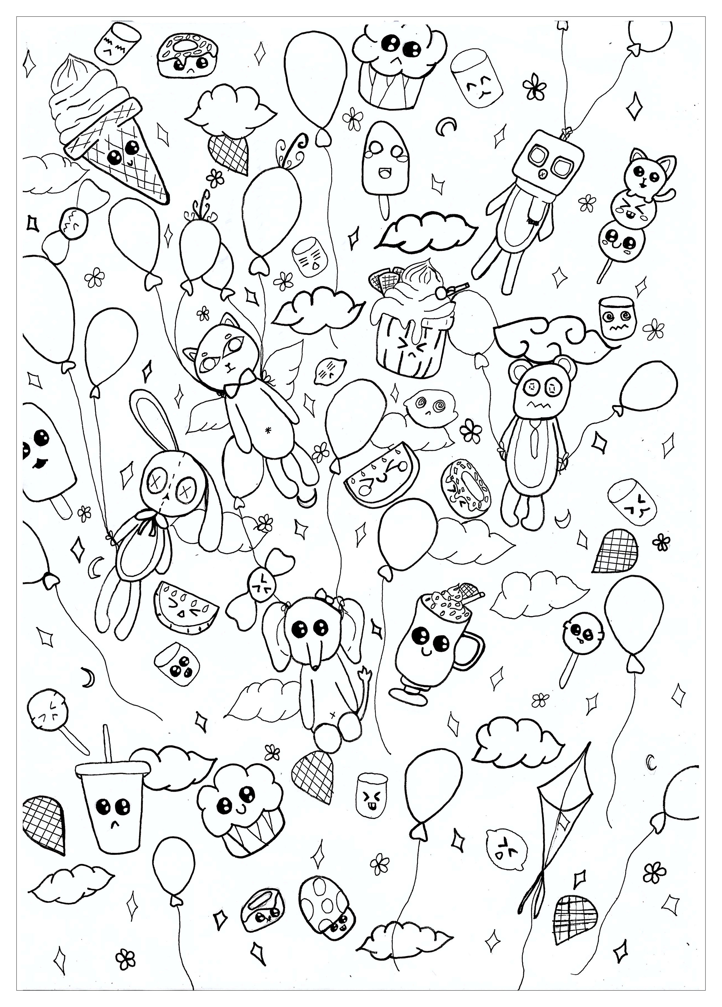 Doodle art free to color for kids - Doodle Art Kids Coloring ...