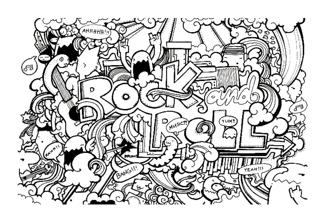 Doodle art free to color for kids