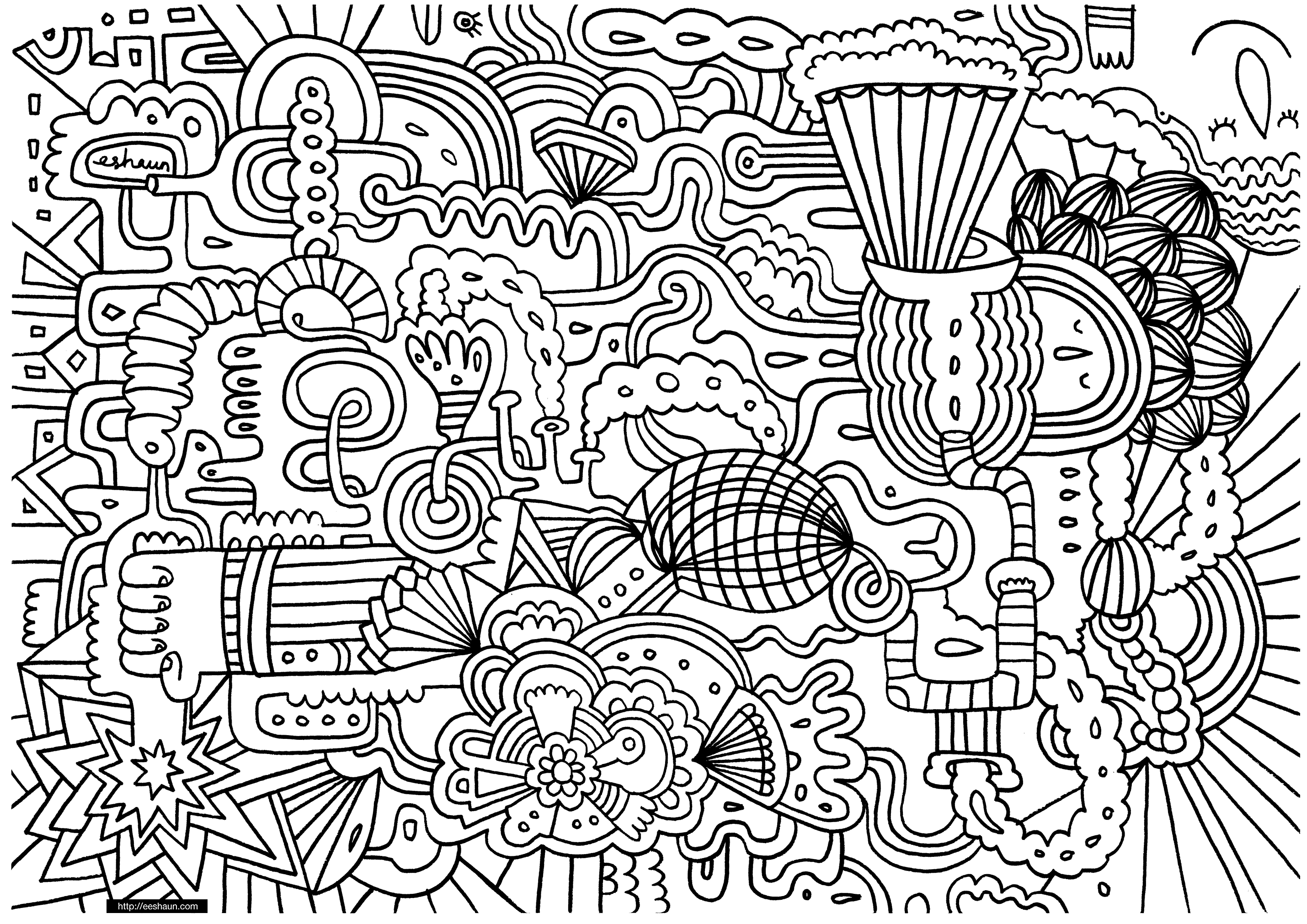 doodle art free coloring pages - photo#22