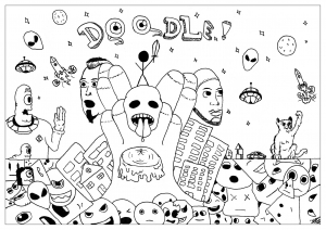 Doodle Art Coloring Page To Print And Color