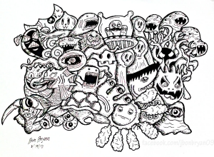 Coloring page doodle art to download