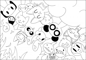 Coloring page doodle art to print