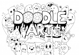 Coloring page doodle art to color for kids
