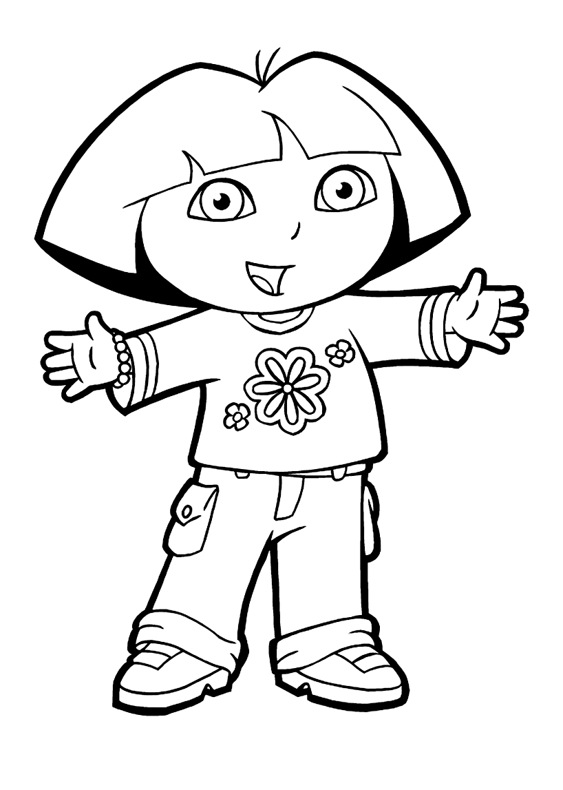 Funny Free Dora The Explorer Coloring Page To Print And Color