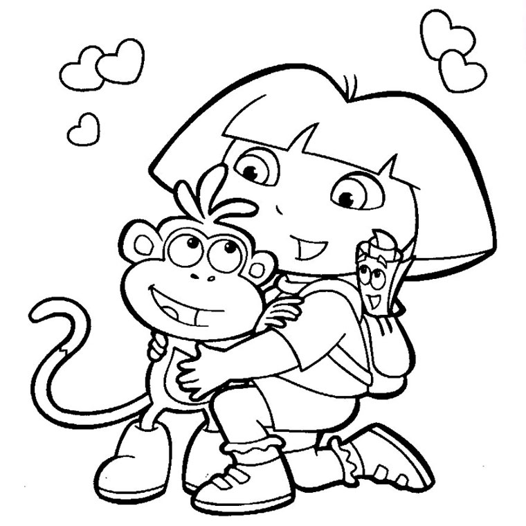Simple Dora The Explorer Coloring Page