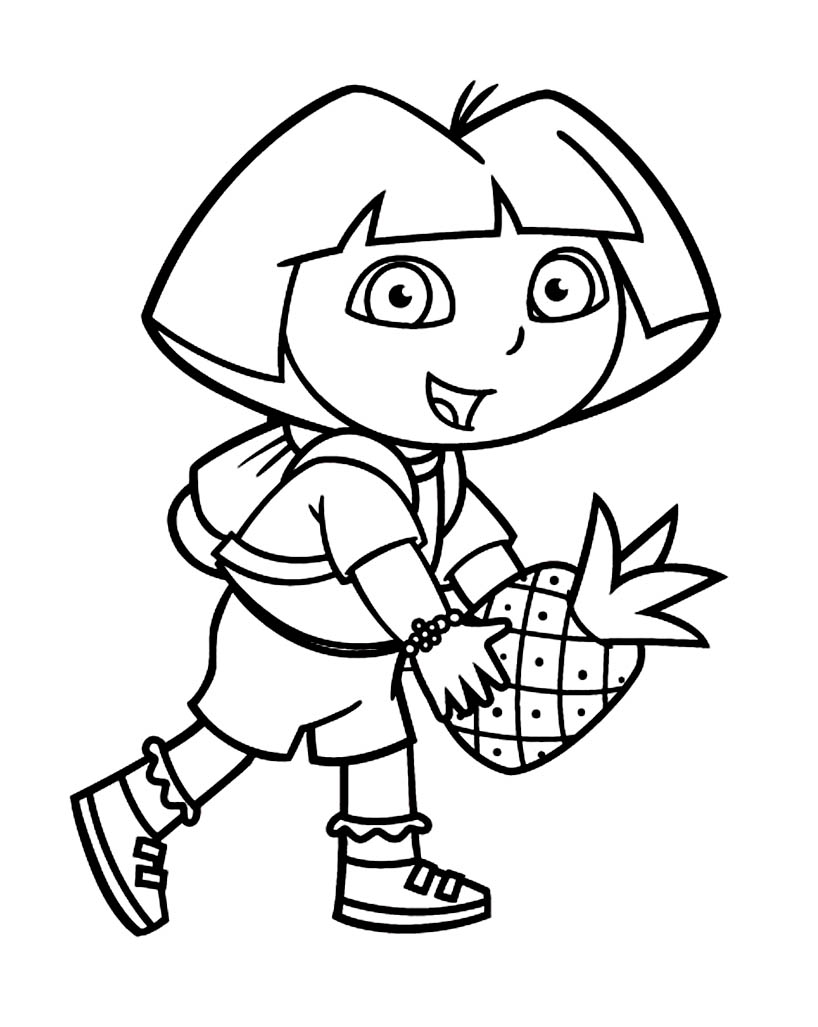 Funny Dora The Explorer Coloring Page For Children