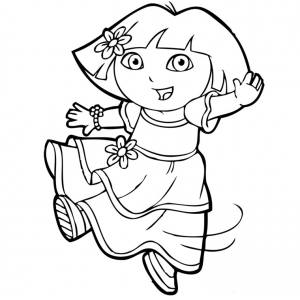 Coloring page dora the explorer for kids